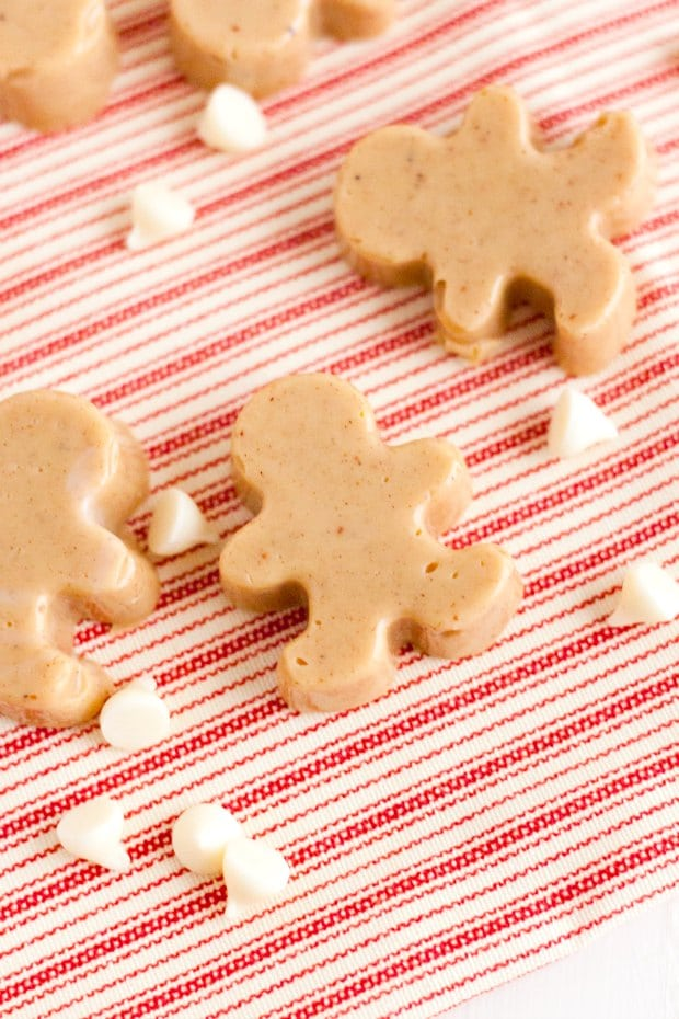 overhead shot of gingerbread man shaped fudge