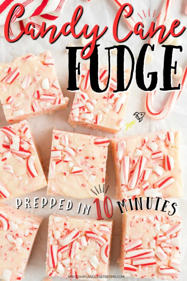 squares of candy cane fudge