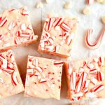 pieces of candy cane fudge