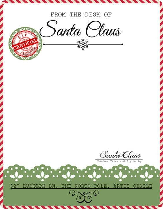Santa Letter Candy Cane Stationary
