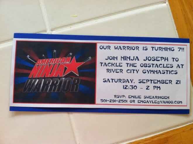 American Ninja Warrior Birthday Party Invitation