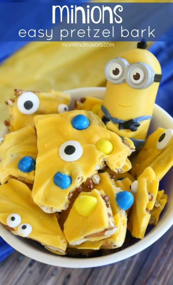 This Minion Pretzel Bark Includes Details Of Minions Without Requiring Carefully Detailed Icing Or Decoration