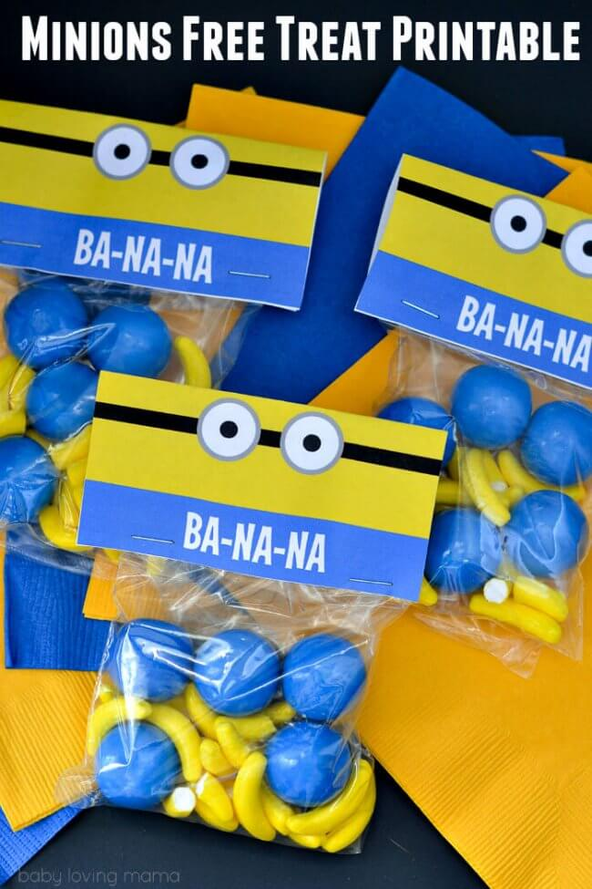This printable Minions Treat bag is the perfect way to present yellow and blue treats at a Minion or Despicable Me party.