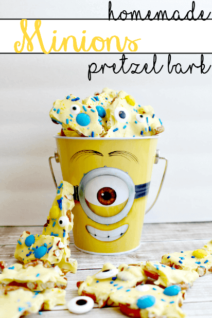 This fun homemade Minions Pretzel Bark is sure to please guests at your Despicable Me party.