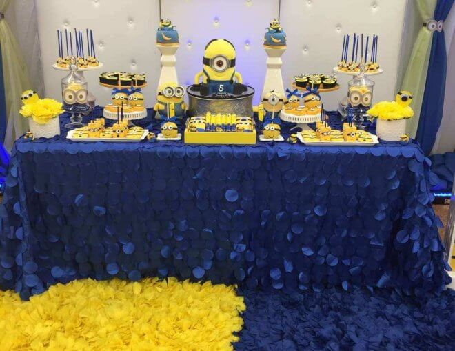 This Minion Party Dessert Table includes an array of these cute Despicable Me characters.