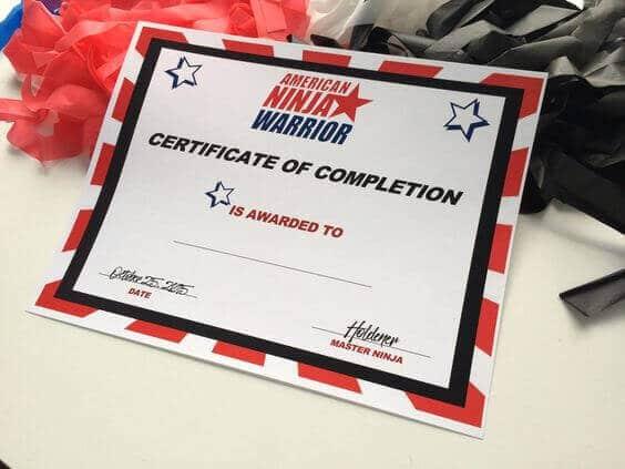 Free Printable American Ninja Warrior Certificate