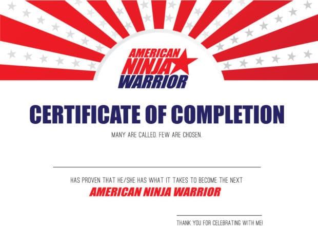American Ninja Warrior Certificate