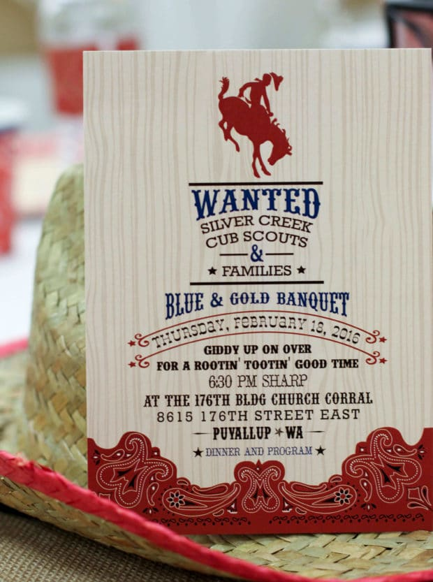 Cowboy Themed Boy's Birthday Party Invitation