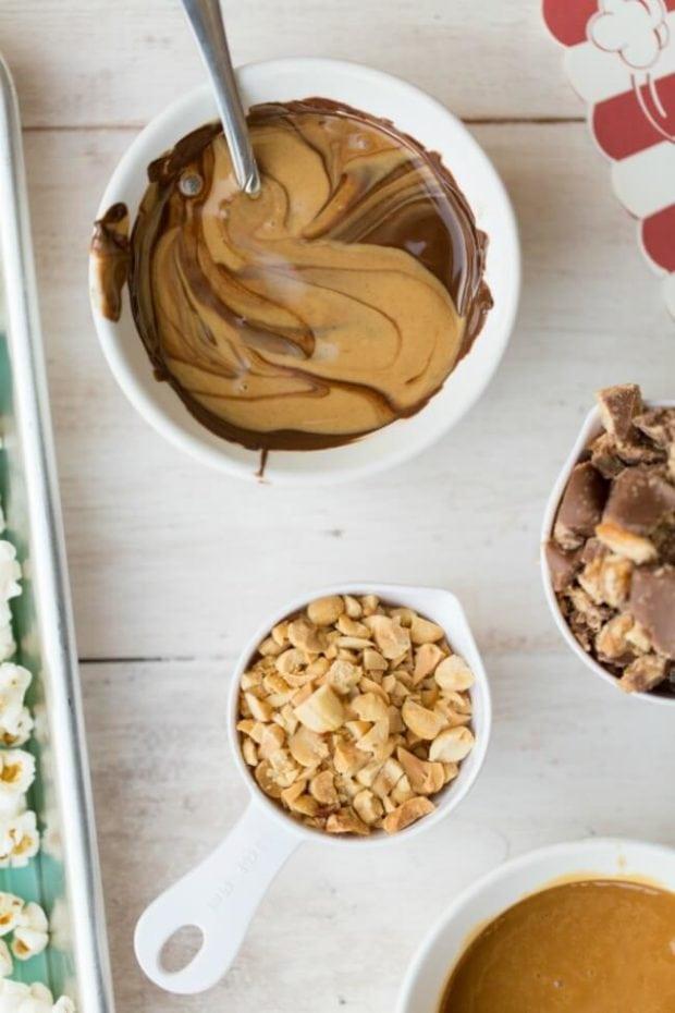 Chocolate Peanut Butter Caramel Popcorn Dessert