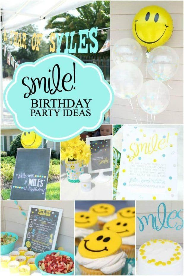 Smiley Face Birthday Party Ideas for Boys from Spaceships and Laser Beams.