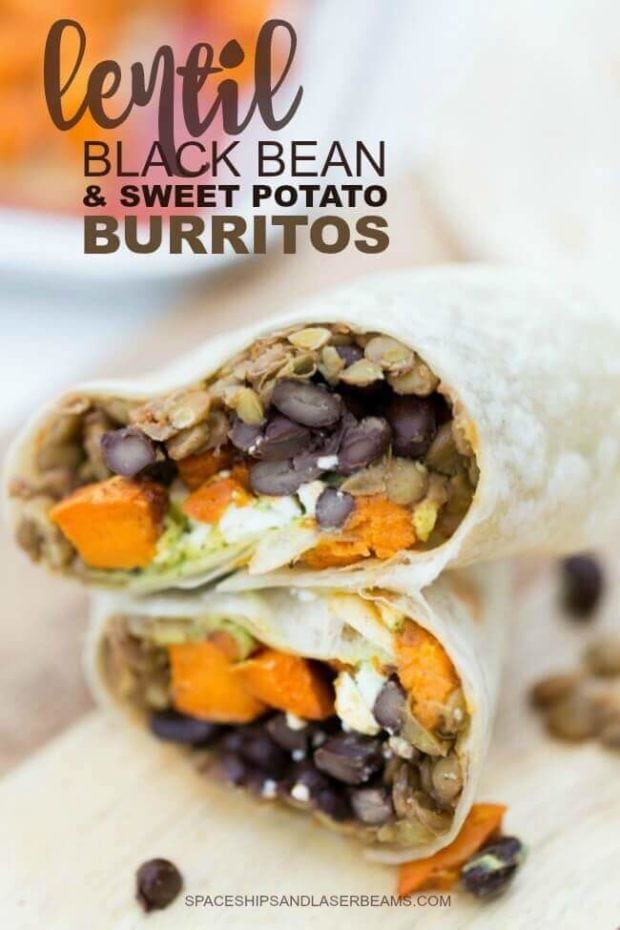 Veggie Burrito made with Lentils, Black Beans and Sweet Potatoes