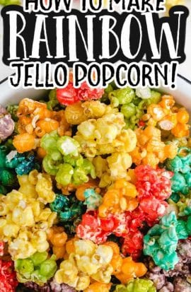 close up overhead shot of rainbow popcorn in a bowl