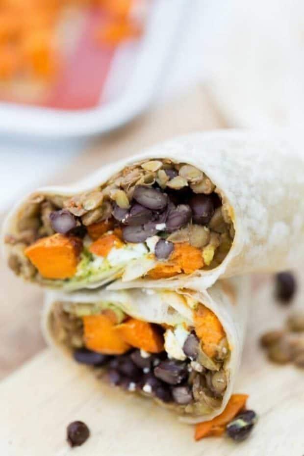 Recipe for Lentil, Black Bean and Sweet Potato Burritos