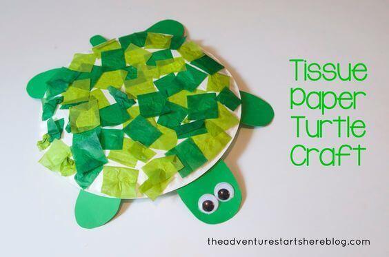 Tissue Paper Turtle Craft