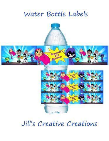 Teen Titans Go Water Bottle Labels