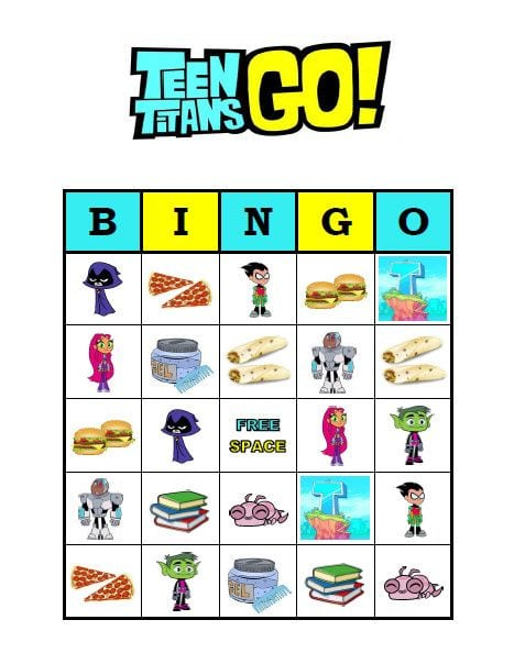 Teen Titans Go Bingo Game