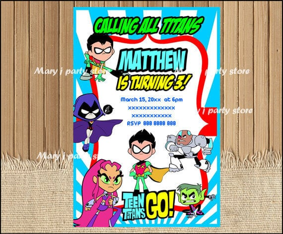 Teen Titans Go Birthday Party Invitation