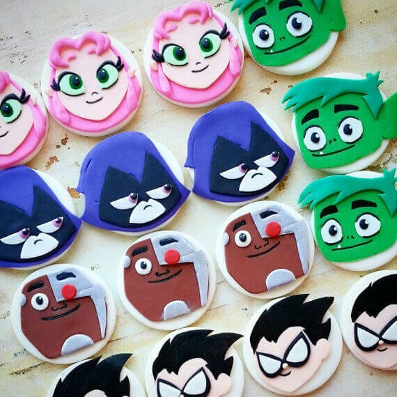 Teen Titans Go Fondant Cupcake Toppers