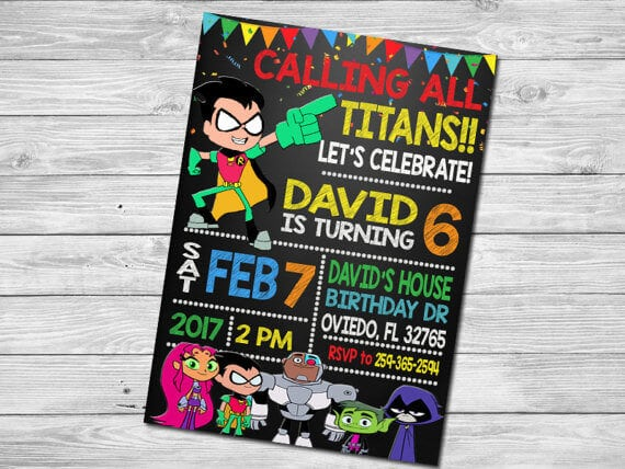 custon teen titans go birthday party favors