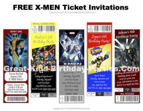 X-Men Ticket Party Invitations
