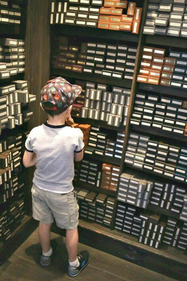 Choosing a wand at Ollivanders in the Wizarding World of Harry Potter at Universal Studios