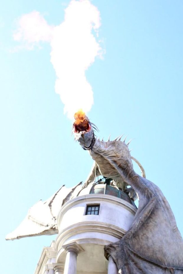 Fire Burning Dragon at Diagon Alley Universal Orlando