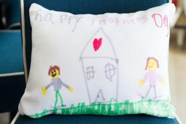 Kid's Artwork on Pillow