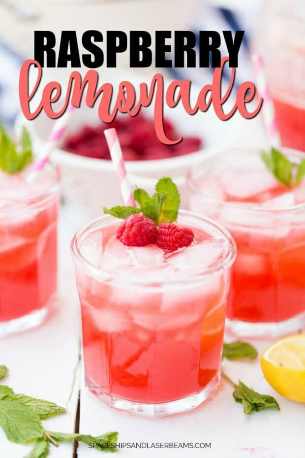Three glasses of raspberry lemonade