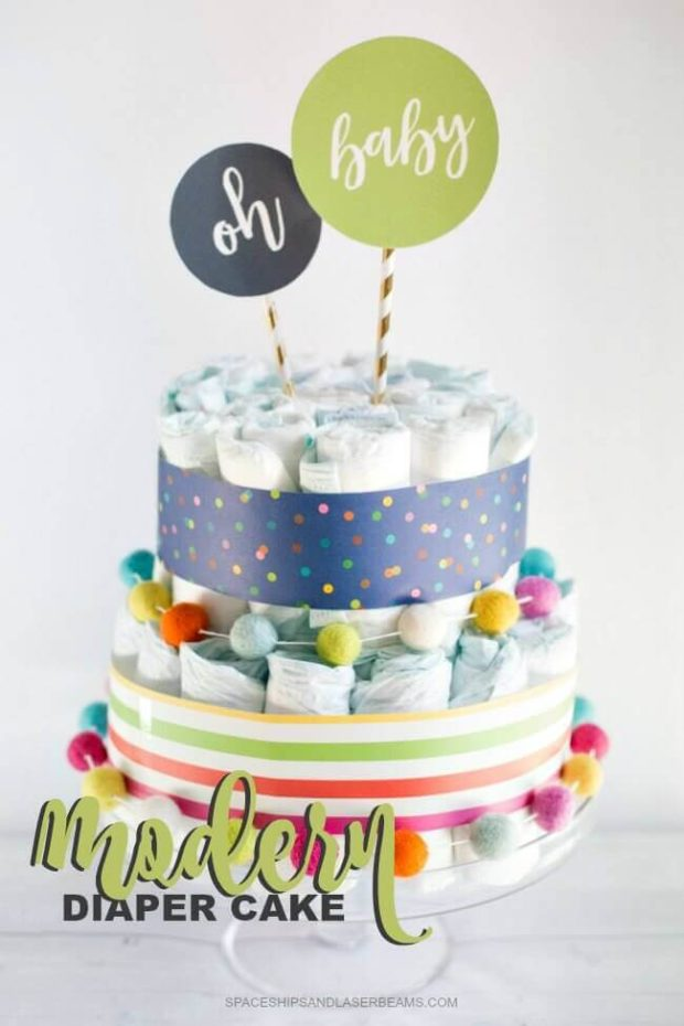Baby Gift Ideas For Runners : Modern diaper cake spaceships and laser beams