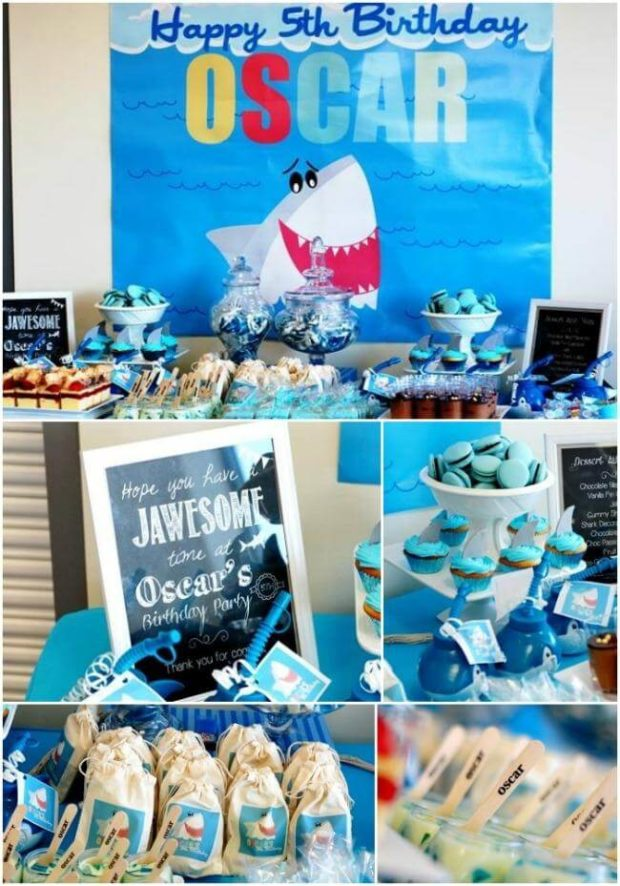 Boy S Shark Themed Beach Bash Birthday Party Spaceships