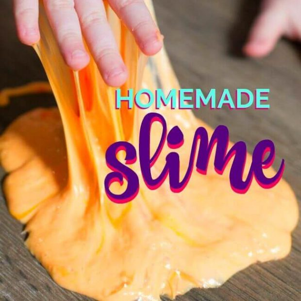 A cutting board with a cake, with Slime