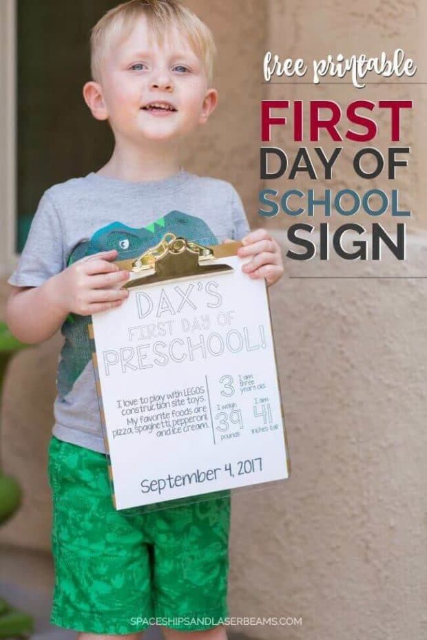 Free Printable: First Day of School Sign