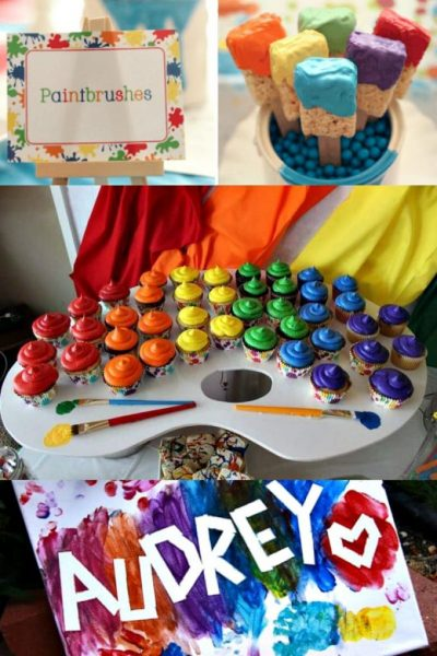 photo collage of paint party ideas