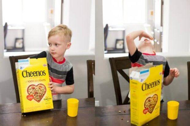 Kid Eating Cheerios