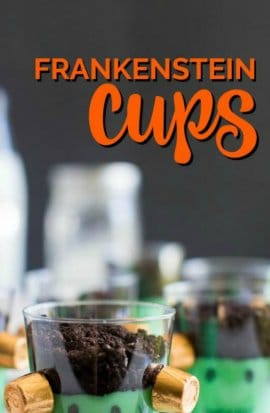 Cute Halloween Party Food Ideas for Kids - Like these Awesome Frankenstein Cups