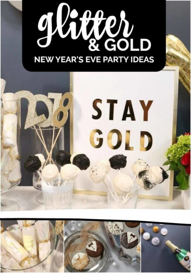 Gold and Glitter New Year's Eve Party Decorations and Ideas