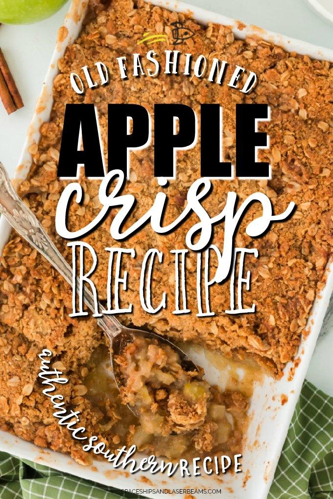 apple crisp in a casserole dish