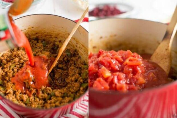 Photo collage showing steps to make chili