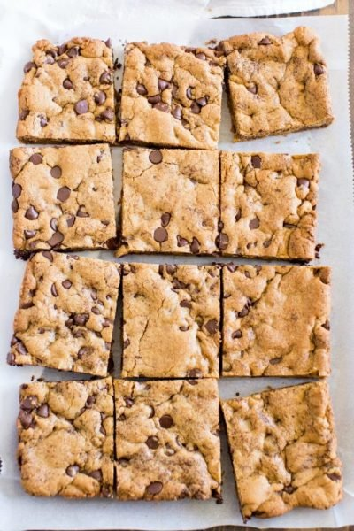 chocolate chip cookie bars cut into squares