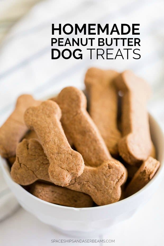 Homemade Peanut Butter Dog Treats Piled in a Bowl