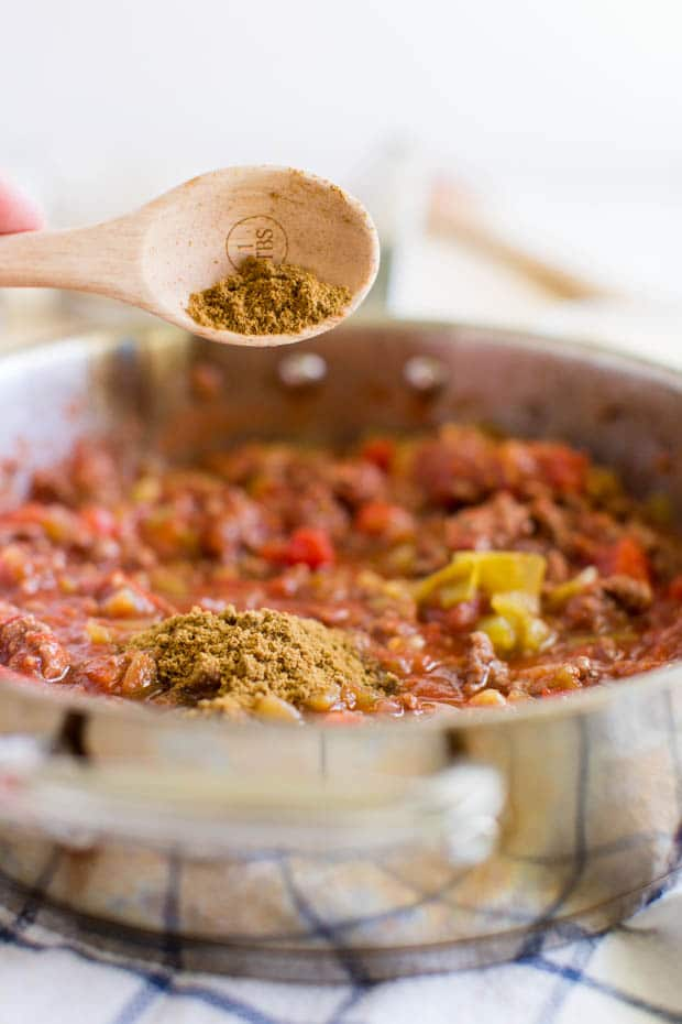 Pan of Chili for Cheese Fries