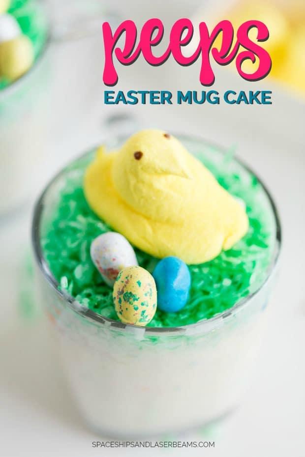 Easter Mug Cake with Peep on Top