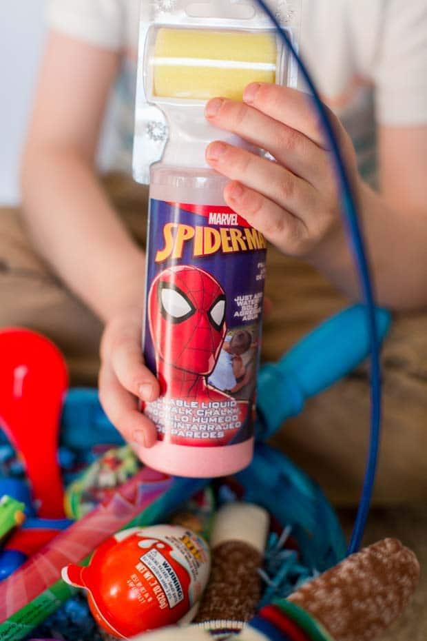Spiderman Chalk Bottles in Easter Basket