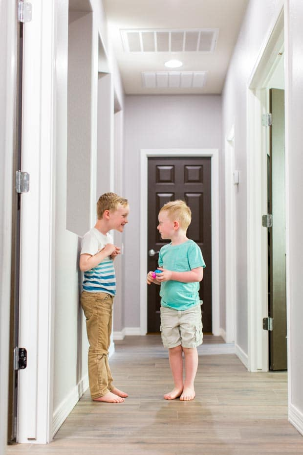 Boys Participating in Indoor Easter Egg Hunt