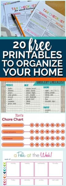 20 Free Printables to organize your home