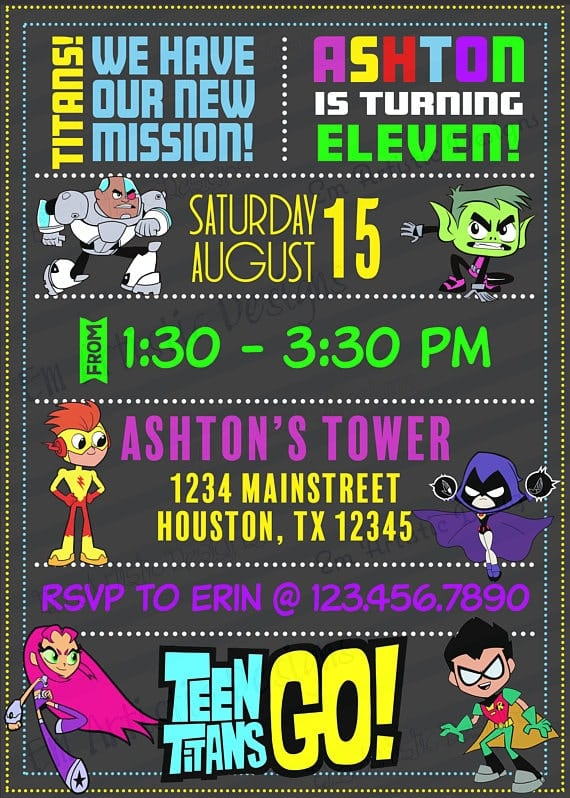 teen titans go invitations