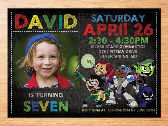 teen titans go party invitations
