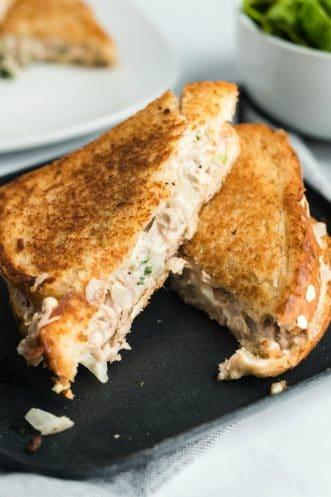tuna salad sandwich cut in half