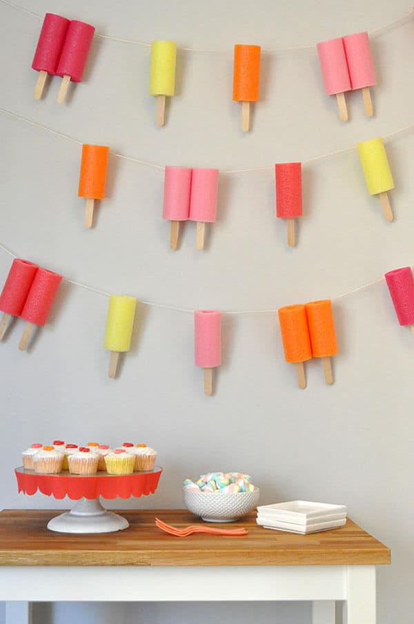 Jumbo Popsicle Garland Tutorial Using Pool Noodles
