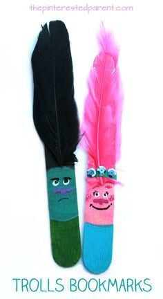 Craft Stick Trolls Bookmarks